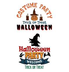 Halloween costume party banners vector image
