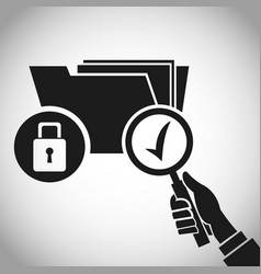 Hand holding search folder padlock vector