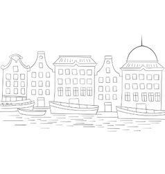 Houses boats coloring book black and white vector