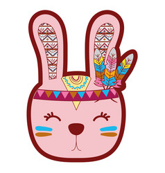 Line color cute rabbit head animal with feathers vector