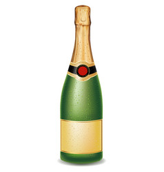 Luxury champagne bottle with many drops vector