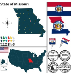 Map of Missouri vector image vector image