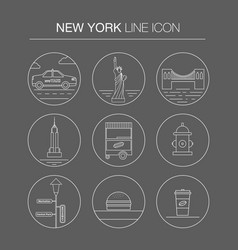 New york thin line icon set vector