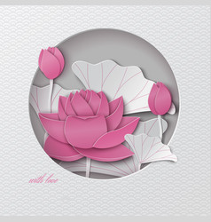 Oriental pattern greeting card with cut out lotus vector