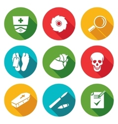 Pathologist and morgue Icons Set vector image
