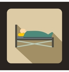Patient in bed in hospital icon flat style vector image