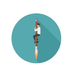 rocket-pencil with man vector image