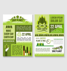 save nature and earth protection templates vector image vector image
