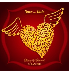 Save the date card with watercolor flying heart vector