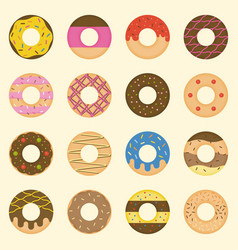 set of donut collection icon vector image vector image