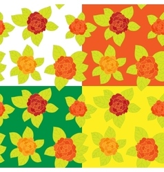 Set of Floral seamless pattern vector image