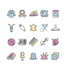 Sewing and needlework tool color thin line icon vector