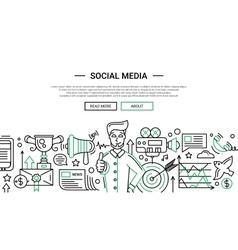 Social media - line design website banner temlate vector