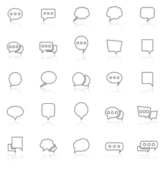Speech bubble line icons with reflect on white vector