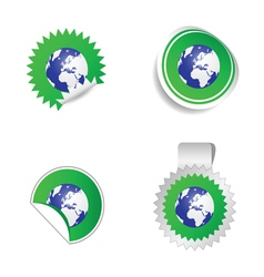 sticker planet green vector image
