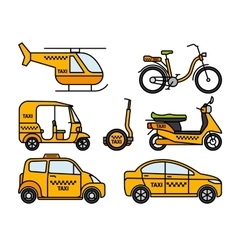 Taxi thin line icons vector