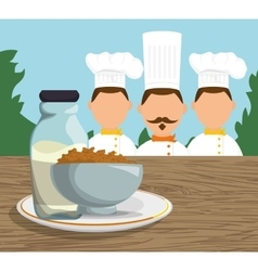 Three character chef breakfast cereal milk vector