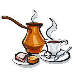 traditional turkish coffee vector image vector image
