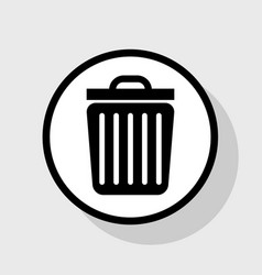 Trash sign flat black icon vector
