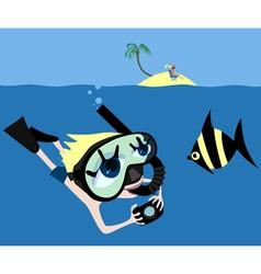 underwater adventures vector image