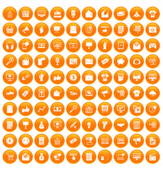 100 internet marketing icons set orange vector