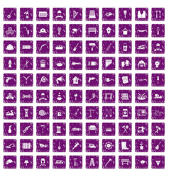 100 tools icons set grunge purple vector