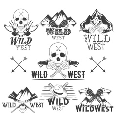 Set of wild west badges isolated emblems vector