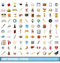 100 school icons set cartoon style vector image