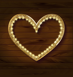 frame cinema heart on wooden background vector image