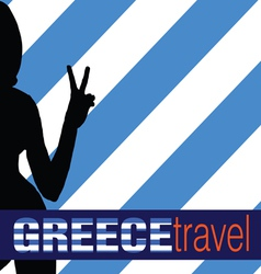 Greece travel with girl and two finger vector