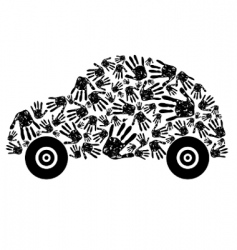 Handprint car vector