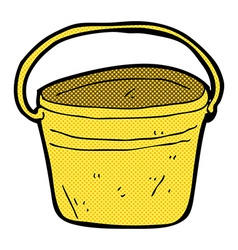 Comic cartoon metal bucket vector