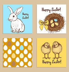 Sketch easter posters set vector
