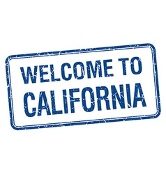 Welcome to california blue grunge square stamp vector