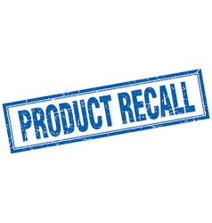 Product recall blue grunge square stamp on white vector