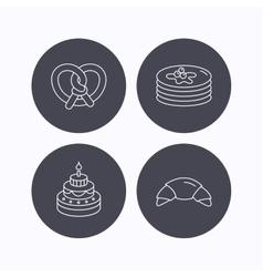 Croissant pretzel and pancakes icons vector