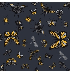 Grey and yellow insects seamless pattern vector