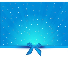 abstract blue background with bow gift and copy vector image vector image