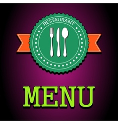 card Restaurant menu label with flatware icon - vector image