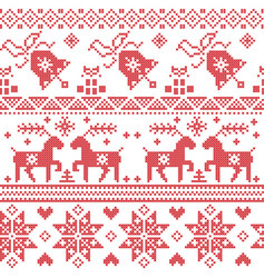 Christams nordic cross stitch pattern vector