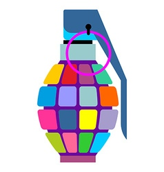 Colorful hand grenade for hippies color bursting vector