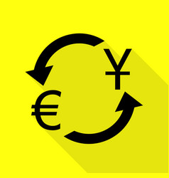 Currency exchange sign dollar and euro black vector