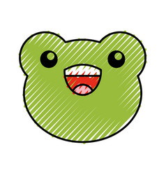 Cute scribble toad face cartoon vector