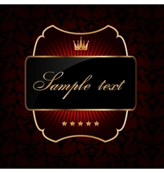 Decorative ornate golden frame on dark background vector image