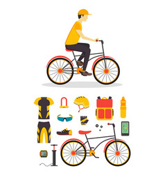 Delivery boy and bicycle business service vector
