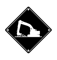 Excavator truck construction work hard pictogram vector
