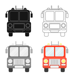 Fire truck icon cartoon single silhouette fire vector