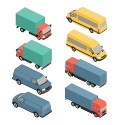 Flat 3d isometric city transport icons car van vector