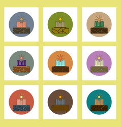 flat icons set of cracked earth and buildings vector image vector image