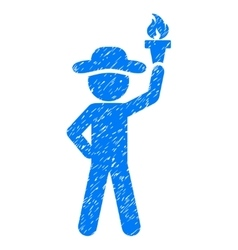 Gentleman with freedom torch grainy texture icon vector
